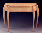 "Bonie Bishoff & J.M. Syron -  Ivory Table, Birdseye Maple, Polymer Clay Veneer in Honeycomb,  46"" x 14"" x 32"""