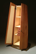 "Moira - 2004 - Reclaimed Redwood, Curly Ash, Bronze. 78""x28""x24"" - $9500."