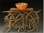 "Brian Russell: ""On the Fence"" (2003): Cast Crystal, Forged, Patinated Steel; 21"" x 27"" x 9""; $7500"