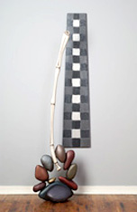 """Peace, Balance, Boys, Boulders and Bamboo"", 2003 - Basswood, Poplar, MDF, Acrylic Paints and Steel - 96"" x 38"" x 24"" - $4700."