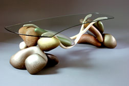 Brent Skidmore - Low Slung Boulder Table, Ash, Basswood, Acrylic Paint and Glass, 53 x 24 x 17""