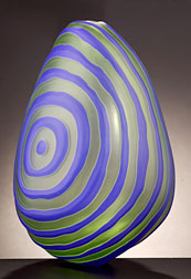 Ethan Stern - Lapis Target , Blown & engraved glass, 15 x 10 x 11""